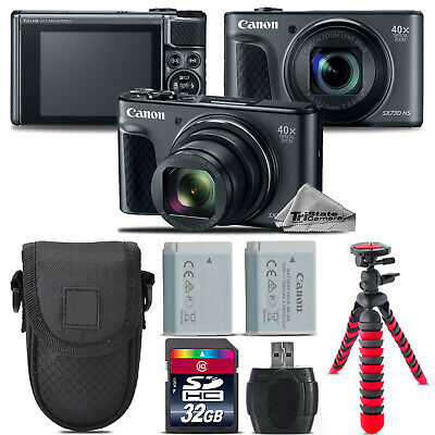 Canon PowerShot SX730 HS Camera (Black) + Extra Battery +Tripod + Case -32GB Kit