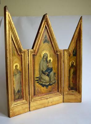 Large Vintage Giltwood Catholic Church Religious Madonna Christianity Triptych