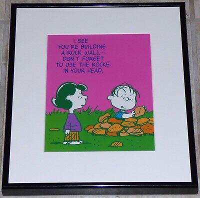PEANUTS LUCY LINUS FRAMED VINTAGE 1980s POSTER PRINT CHARLES SCHULZ THE WALL