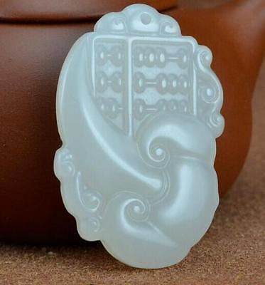 China hand-carved white  jade Abacus jade 如意算盘 pendant Necklace Amulet