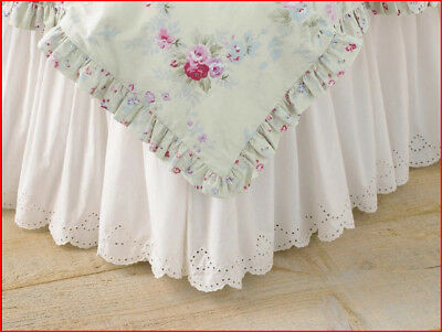 """Simply Shabby Chic Eyelet Ruffled Bedskirt 15"""" Drop Cotton WHITE - QUEEN 🌟NEW🌟"""