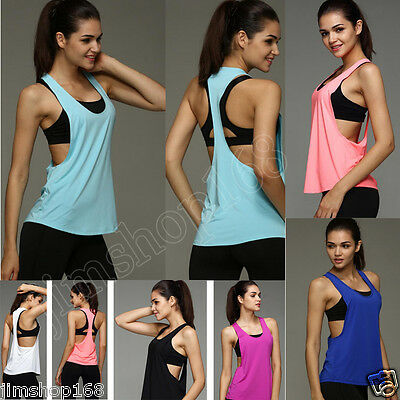 Moda Donna Workout Canottiera t-shirt palestra sport vestiti Fitness Yoga