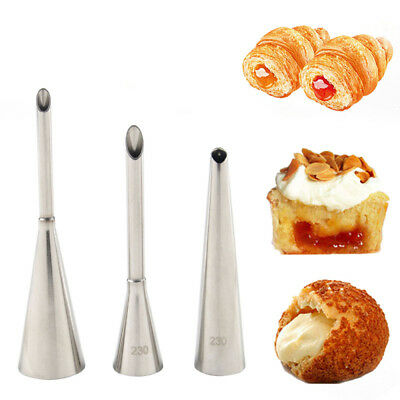 3PCS Piping Bag Nozzles Set Stainless Steel Cake Decorating Cake Tips For Puff