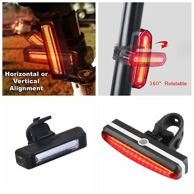 USB Rechargeable COB LED Bicycle Cycling Bike Front Rear Tail Light Lamp 6 Modes
