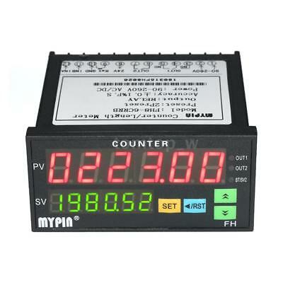 Dual LED Display Digital Counter Length Meter With 2 Relay Output Pulse PNP NPN