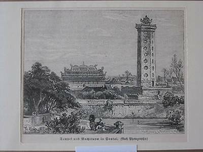 88316-Asien-Asia-Tempel Wachturm in Sontai-T Holzstich-Wood engraving