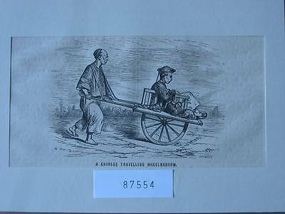 87554-Asien-Asia-China-Chinese Travelling Wheelbarrow-T Holzstich-Wood engraving
