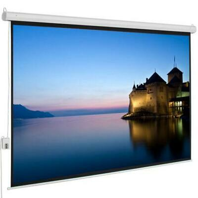 "100"" 4:3 Electric Remote Control Projection Screen HD Movie Theater Matte White"
