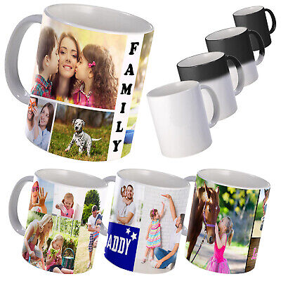 Personalised Mug With Photo Collage, Text On White Mug Or Colour Changing Mug