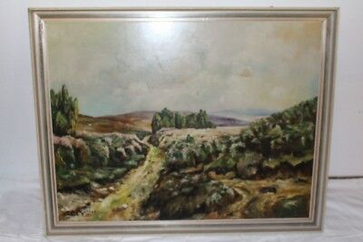 Original Antique Painting Oil/Wood Heath Heide Erika E.Köhler ca 1920
