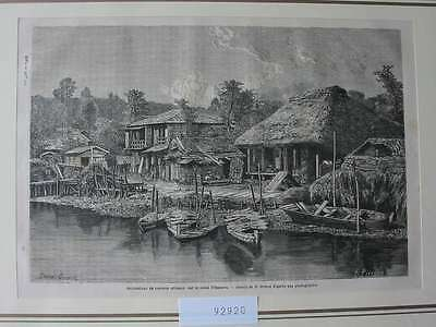 92920-Asien-Asia-Japan-Nippon-Nihon-Canal Omoura-T Holzstich-Wood engraving