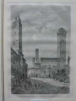 93318-Italien-Italy-Italia-San Gimignano-T Holzstich-Wood engraving