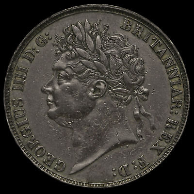 1821 George IV Milled Silver Secundo Crown, WWP Inverted, Rare