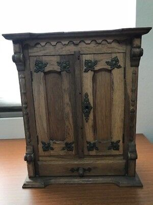 Antique Doll Wardrobe Armoire, German Oak FANTASTIC