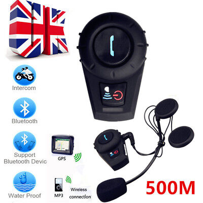 Helmet Bluetooth Interphone 500M BT Motorbike Intercom Headset FDC-VB FM UK Ship