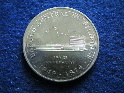 1974 Philippines Silver Proof 25 Piso - One Year Type  - Free U S Shipping