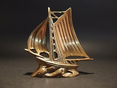 "5"" Vintage Antique Style Brass Nautical Sloop Ship Boat Paperweight Desk"