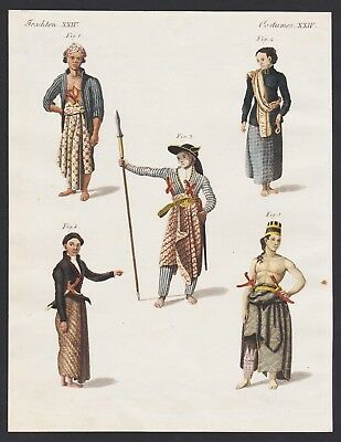 1800 - Java Island Indonesia costumes Trachten engraving antique print Bertuch