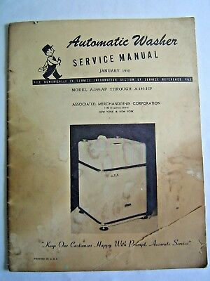 Vintage 1950 Automatic Washer Service Manual Associated Merchandising Corp.