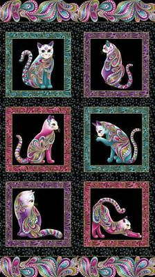 Cat-I-Tude: Black with Gold Metallic Print Cotton Panel Fabric