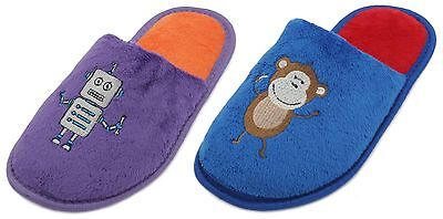 Slumberzzz Boys Fun Character Embroidered Mule Slippers
