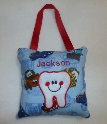 """Embroidered Cars TOOTH FAIRY PILLOW already personalized with """"Jackson"""" New"""