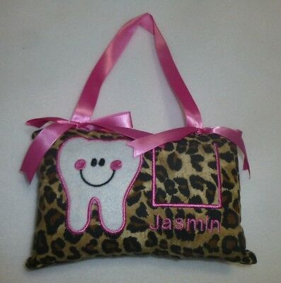 """Embroidered Leopard TOOTH FAIRY PILLOW already personalized with """"JASMIN"""" New"""