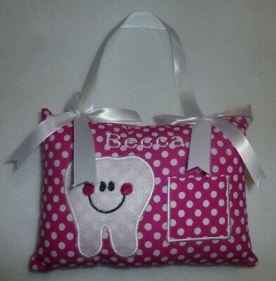 """Embroidered Dots TOOTH FAIRY PILLOW already personalized with """"Becca""""  New"""