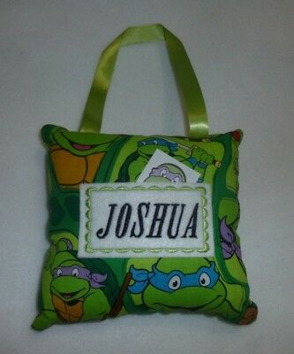 """Embroidered Turtles TOOTH FAIRY PILLOW already personalized with """"JOSHUA"""" New"""