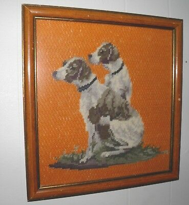 Vintage Needlepoint Picture POINTER DOG Framed Glassed Embroidery Needle Art