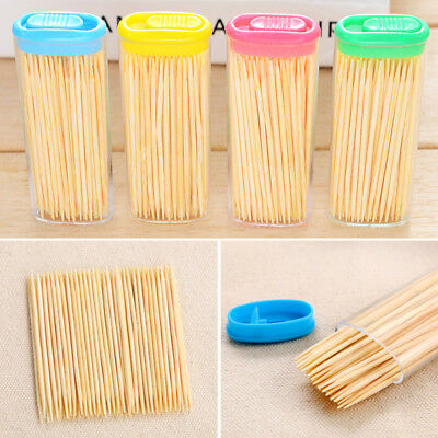 80Pcs Wood Stick Wooden Bamboo Toothpick Party Food Pick Oral Care Tooth Clean