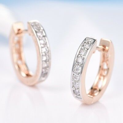 Brand New Women Sapphire Crystal Gold Platinum Filled Lady Wedding Hoop Earrings