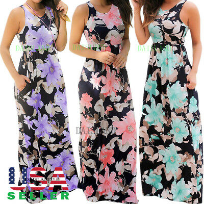 Women Dress Bodycon Casual Bandage Evening Party Cocktail Long Maxi Floral Print
