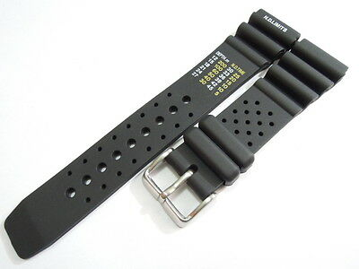 New 22Mm Citizen N.d. Limits Black Rubber Strap Stainless Buckle For Men's Watch