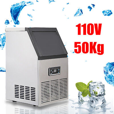 50Kg/110Lbs Auto Commercial Ice Cube Maker Machine Stainless Steel Bar 110V 230W
