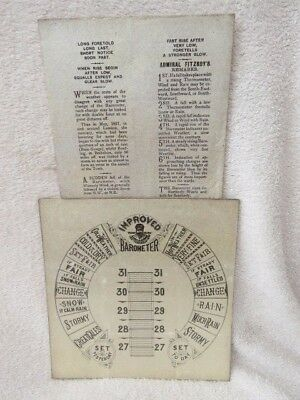 New Old Stock Torricelli Admiral Fitzroy Thick Card Barometer Dial & Forecaster