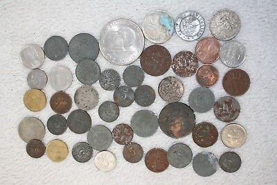 SMALL JOB LOT OF 1827-1970s FOREIGN COINAGE