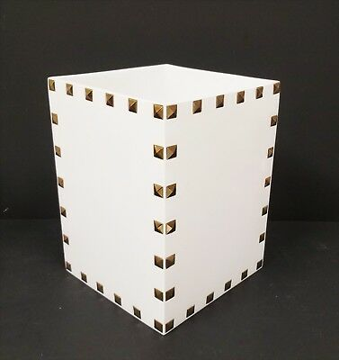 New Mike+Ally White Resin+Gold Metal Pyramid Studs Accent Trash Can,waste Basket