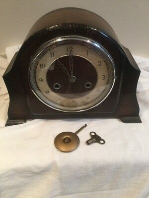 British Bentima Deco Period Perivale Oak Case Westminster Mantle Clock