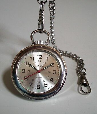 Men's  Clip On Silver Tone Fashion numbers Pocket Watch