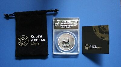 South Africa - 2017 1 oz Silver Krugerrand ANACS SP70 with COA