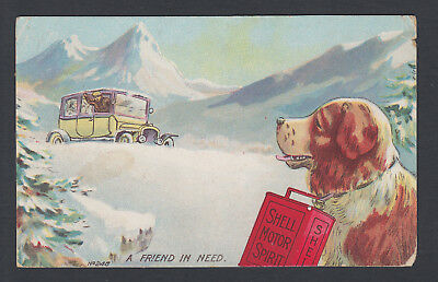 1913 used postcard ~ Shell Motor Oil No. 248 A friend in need