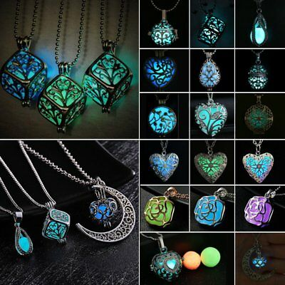 Fashion Luminous Steampunk Magic Flower Locket Pendant Necklace Glow In The Dark