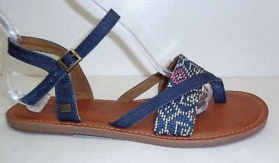 322bd30e7f1 Toms Size 9.5 M LEXIE Navy Woven Ankle Strap Buckle Sandals New Womens Shoes