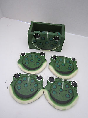 4 Handpainted Wooden Green Frog Coasters in Holder. Tropical Patio Decor.