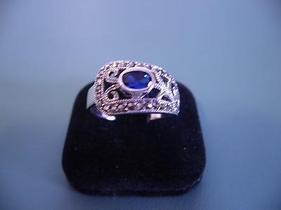 Sterling Silver Created Sapphire & Marcasite Gem Wrap Ring - 8 / Q - 5G