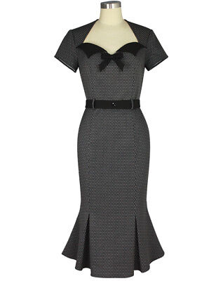 Psychobilly EVELYN Noir Wiggle Dress ~ Rockabilly Vintage Gothic 50s 40s Pencil