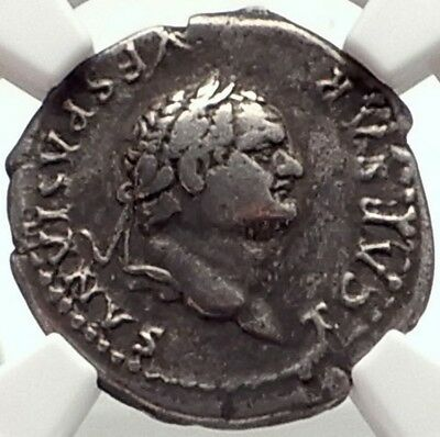 TITUS as Caesar Authentic Ancient 77AD Rome Silver Roman Coin ANNONA NGC i69111