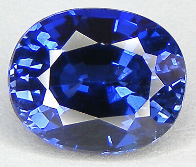 5,32CT. EXCELLENT SAPHIR BLEU CORINDON DE SYNTHESE T. OVALE 11,1x9,1 MM.