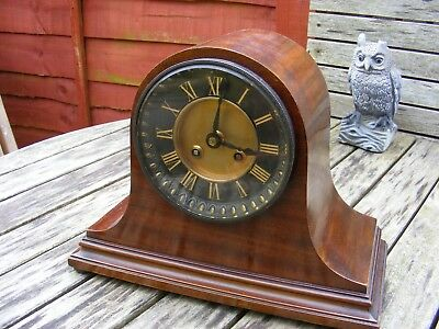 Antique French Mantle Clock, 8 Day Key Wind, Gong Strike, Working.